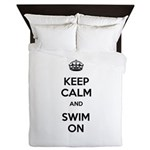 Keep Calm and Swim On Queen Duvet