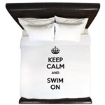 Keep Calm and Swim On King Duvet