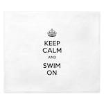 Keep Calm and Swim On King Duvet