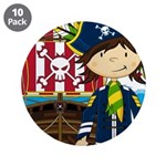 "Pirate Captain and Ship 3.5"" Button (10 pack)"