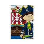 Pirate Captain and Ship Rectangle Magnet (10 pack)