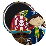 "Pirate Captain and Ship 2.25"" Magnet (10 pack"