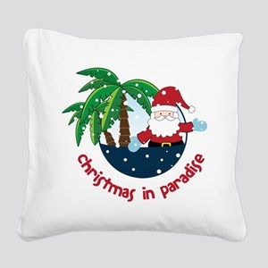 Christmas In Paradise Square Canvas Pillow