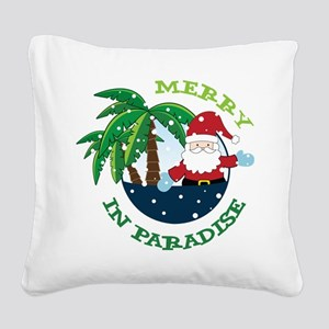 Merry In Paradise Square Canvas Pillow