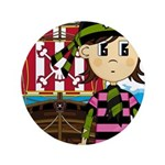 "Bandana Pirate and Ship 3.5"" Button (100 pack"