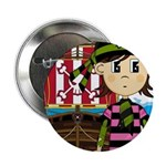 "Bandana Pirate and Ship 2.25"" Button (10 pack"