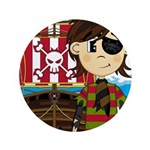"Eyepatch Pirate and Ship 3.5"" Button"