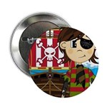 "Eyepatch Pirate and Ship 2.25"" Button (100 pa"