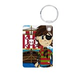 Eyepatch Pirate and Ship Aluminum Photo Keychain
