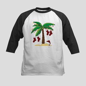 Tropical Christmas Kids Baseball Jersey