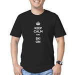 Keep Calm and Ski On Men's Fitted T-Shirt (dark)