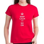 Keep Calm and Ski On Women's Dark T-Shirt