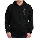 Keep Calm and Ski On Zip Hoodie (dark)