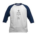 Keep Calm and Ski On Kids Baseball Jersey