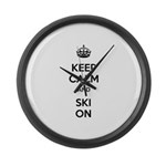 Keep Calm and Ski On Large Wall Clock