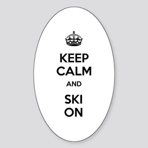 Keep Calm and Ski On Sticker (Oval 10 pk)