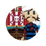 "Turban Pirate and Ship 3.5"" Button (100 pack)"
