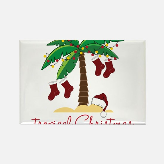 Tropical Christmas Rectangle Magnet