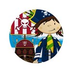 "Pirate Captain and Ship 3.5"" Button (100 pack"