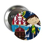"Pirate Captain and Ship 2.25"" Button (100 pac"