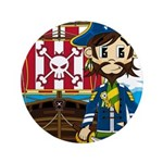 "Pirate Captain and Ship 3.5"" Button"