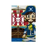 Pirate Captain and Ship Rectangle Magnet