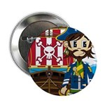 "Pirate Captain and Ship 2.25"" Button"