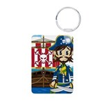 Pirate Captain and Ship Aluminum Photo Keychain