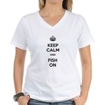 Keep Calm and Fish On Women's V-Neck T-Shirt