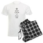 Keep Calm and Fish On Men's Light Pajamas