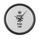 Keep Calm and Fish On Large Wall Clock