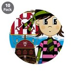 "Bandana Pirate and Ship 3.5"" Button (10 pack)"