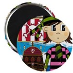 "Bandana Pirate and Ship 2.25"" Magnet (10 pack"