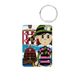 Bandana Pirate and Ship Aluminum Photo Keychain