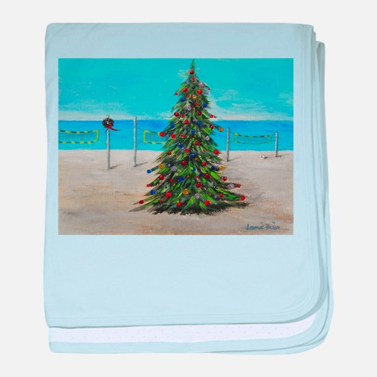 Christmas Tree at the Beach baby blanket