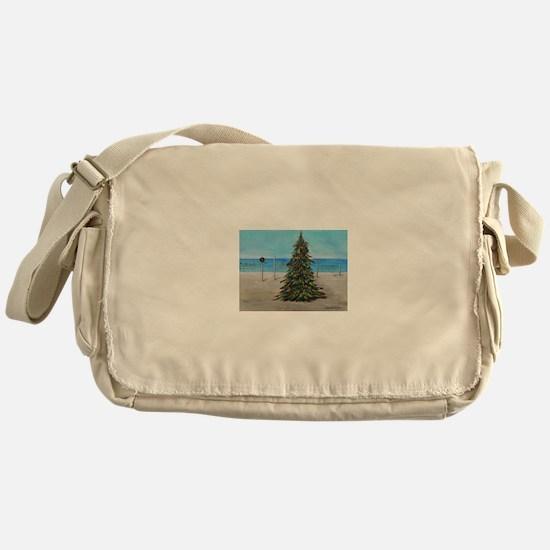 Christmas Tree at the Beach Messenger Bag