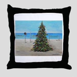 Christmas Tree at the Beach Throw Pillow