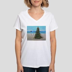 Christmas Tree at the Beach Women's V-Neck T-Shirt
