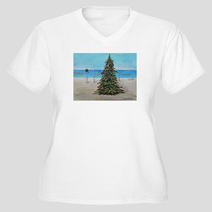Christmas Tree at the Beach Women's Plus Size V-Ne