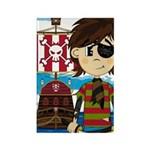 Eyepatch Pirate and Ship Rectangle Magnet