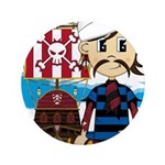 "Turban Pirate and Ship 3.5"" Button"