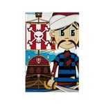 Turban Pirate and Ship Rectangle Magnet