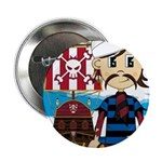 "Turban Pirate and Ship 2.25"" Button (10 pack)"