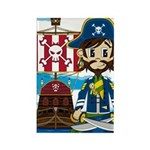 Pirate Captain and Ship Rectangle Magnet (100 pack