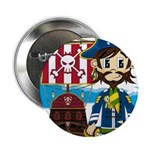 "Pirate Captain and Ship 2.25"" Button (10 pack"