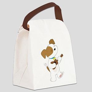 Cute Puppy Ukulele Canvas Lunch Bag