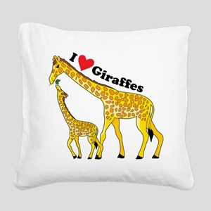 giraffe and baby cp Square Canvas Pillow