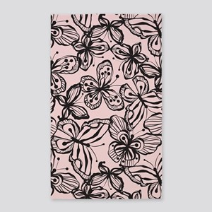 Butterfly Black/Pink 3'x5' Area Rug