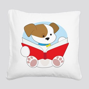Cute Puppy Reading Square Canvas Pillow