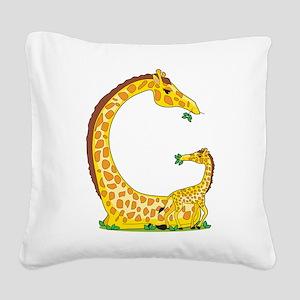 animal alphabet Giraffe Square Canvas Pillow